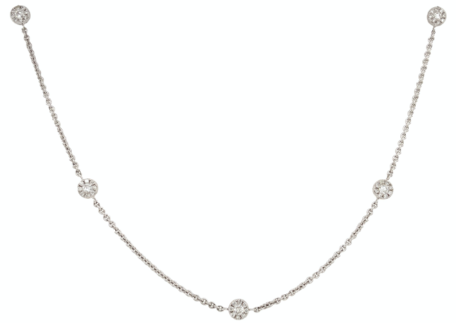 Diamond By The Yard Necklace Double Sided 18 Karat White Gold 5 Diamond Halo 0.62 ctw.