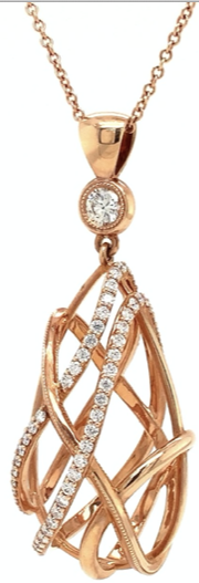 Devotion Forevermark Open Cage Pear Shape Diamond Necklace 1.20ctw 18K Rose Gold