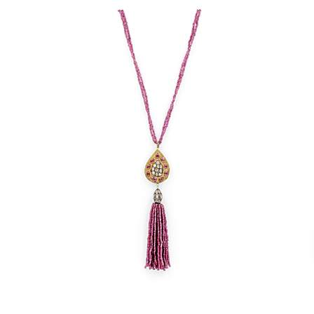 Ruby and Diamond Tassel Necklace 24K Gold Vermeil and Oxidized Silver