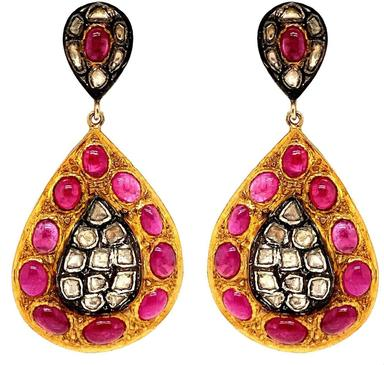 Oxidized Silver and Gold Vermeil Double Teardrop Earring with Cabochon Ruby and Polki Diamond