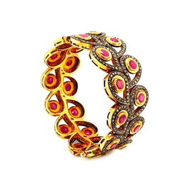 Oxidize Sterling Silver and Gold Vermeil 25 cts Ruby and Diamond Hinged Bangle