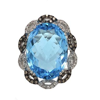 Oval Blue Topaz, White and Chocolate Colored Diamond Ring 14K White Gold