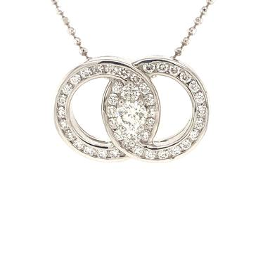 Infinity Diamond Pendant 14K White Gold 0.97 ctw
