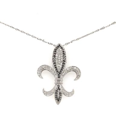Fleur De Lis Diamond Pendant with Black Diamonds 0.15 ctw and White Diamonds 0.80 ctw 14K White Gold