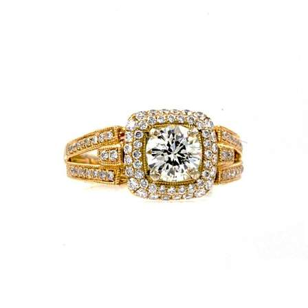 European Cut Round Cushion Halo Diamond Engagement Ring 14K White and Yellow Gold 1.60 ctw