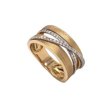 Estenza Contemporary Four Row Diamond Band Matt Finish with two rows of Diamonds 14 Kt White and Yellow Gold