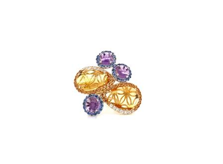 Estenza Cabochon Amythest Sapphire White and Yellow Diamond Yellow Citrine Ring 14 Kt Yellow Gold