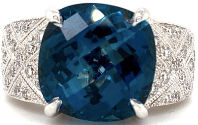 Cushion Cut Super Blue Topaz and Pavée Brilliant Cut Diamond Ring 18K White gold