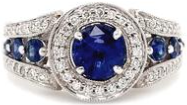 Blue Sapphire and Diamond Halo Ring S 1.68 ctw D 0.40 ctw 14K White Gold
