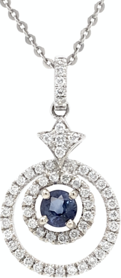 Blue Sapphire and Diamond Circle of Life Diamond Pendant 14 kt White Gold