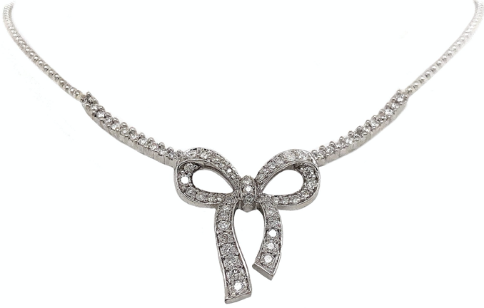 Bead Set Diamond Bow Necklace 1.00 ctw 14K White Gold