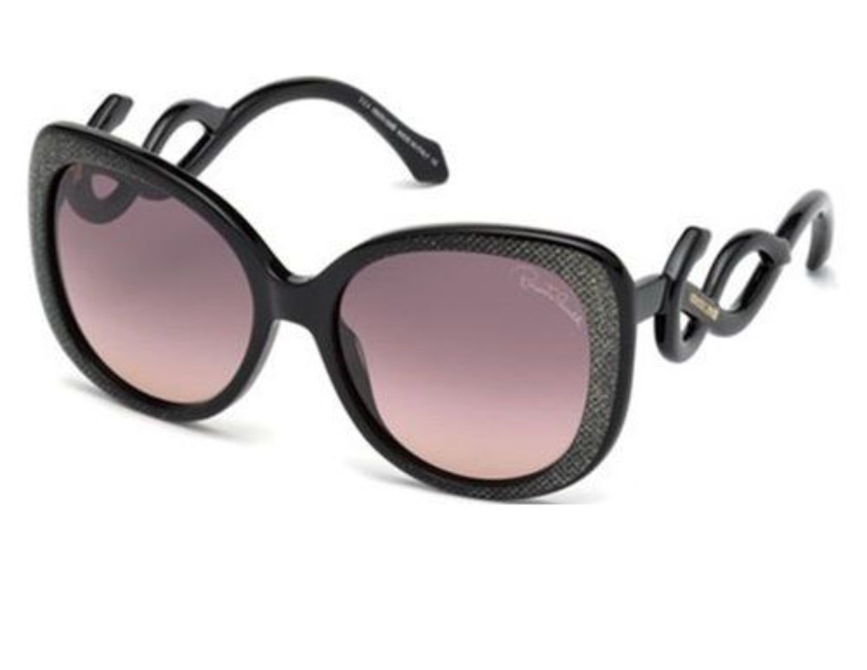 Roberto Cavalli Black With Gold Shimmer Sunglasses