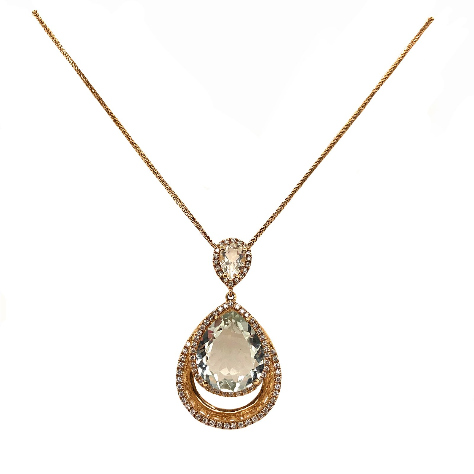 Dangling Pendant Light Green Quartz and Diamond Halo Pendant 14K Yellow Gold
