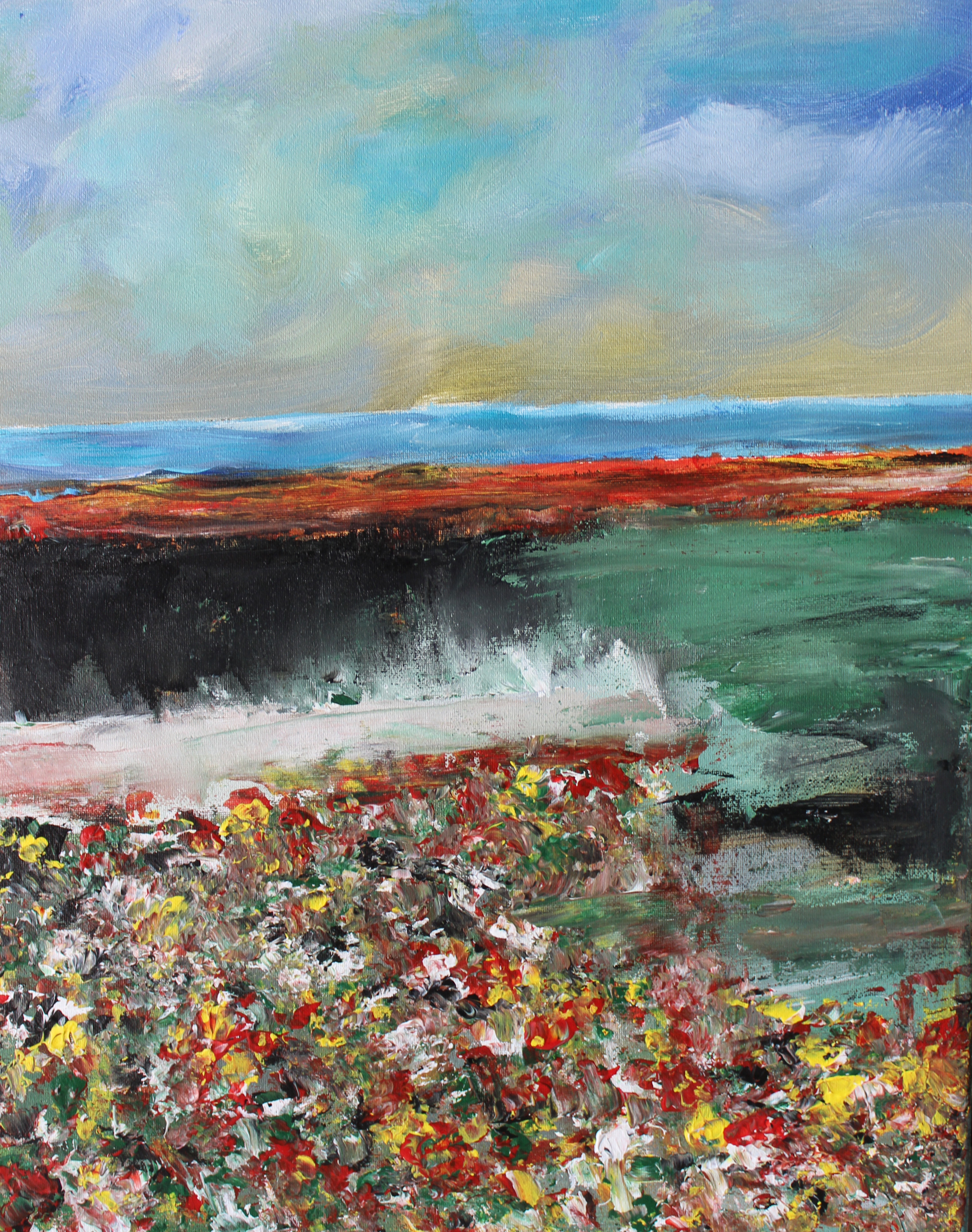 """ Wild Flower Beds "" Framed Original Seaside Painting 20x16"""
