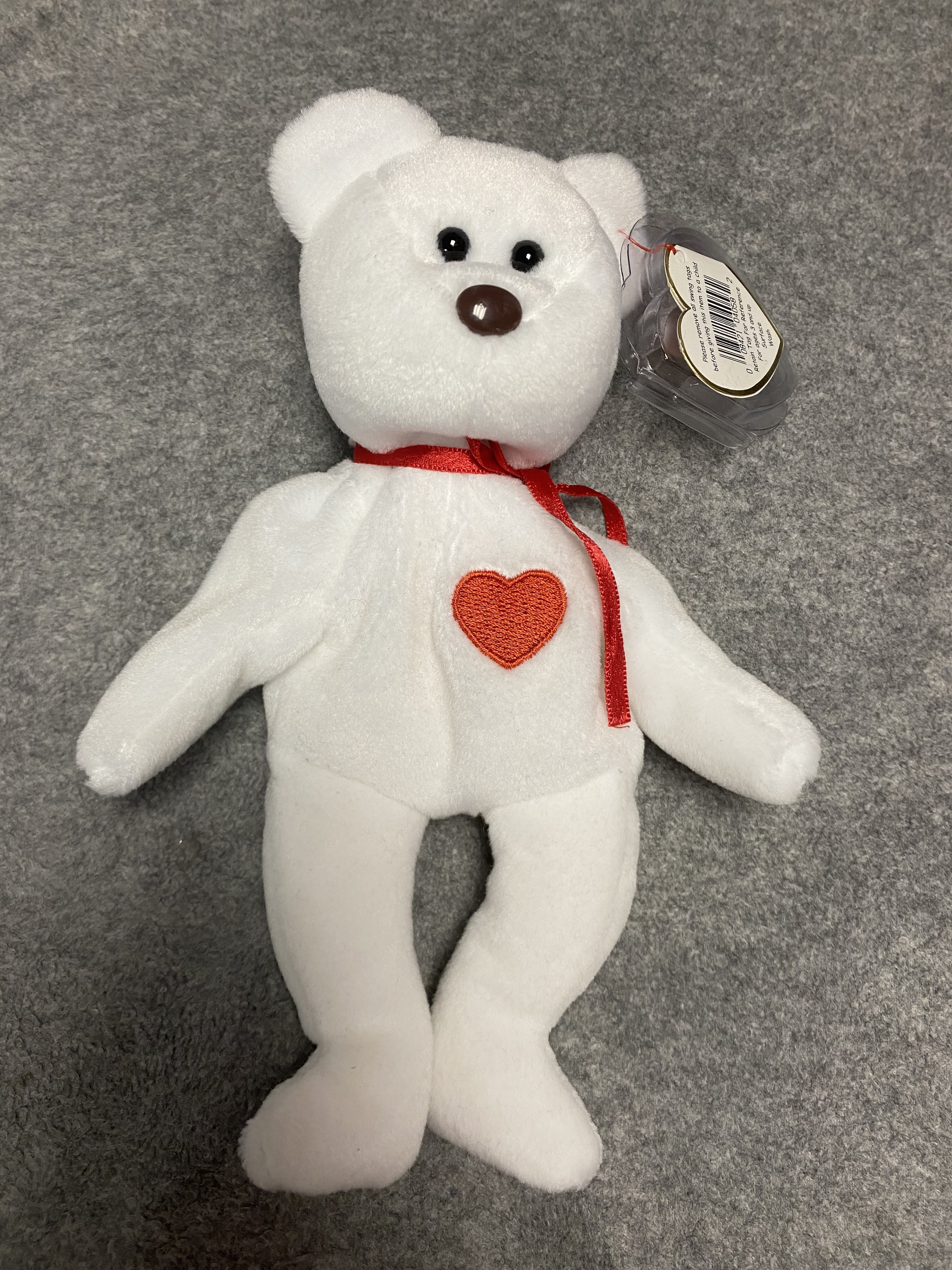 White Bear Beanie Babies with Red Heart