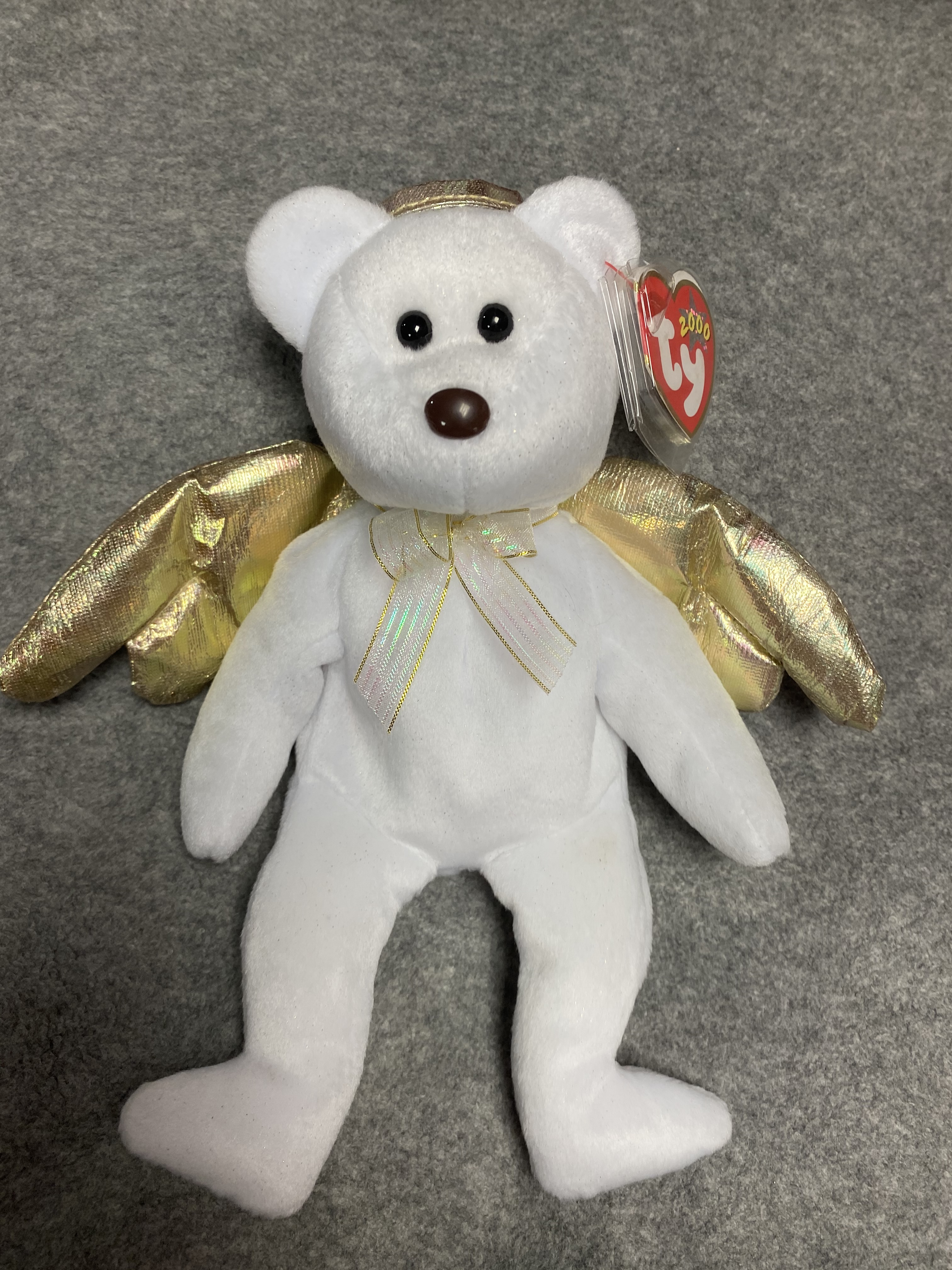 White and Gold Angel Bear Beanie Babies