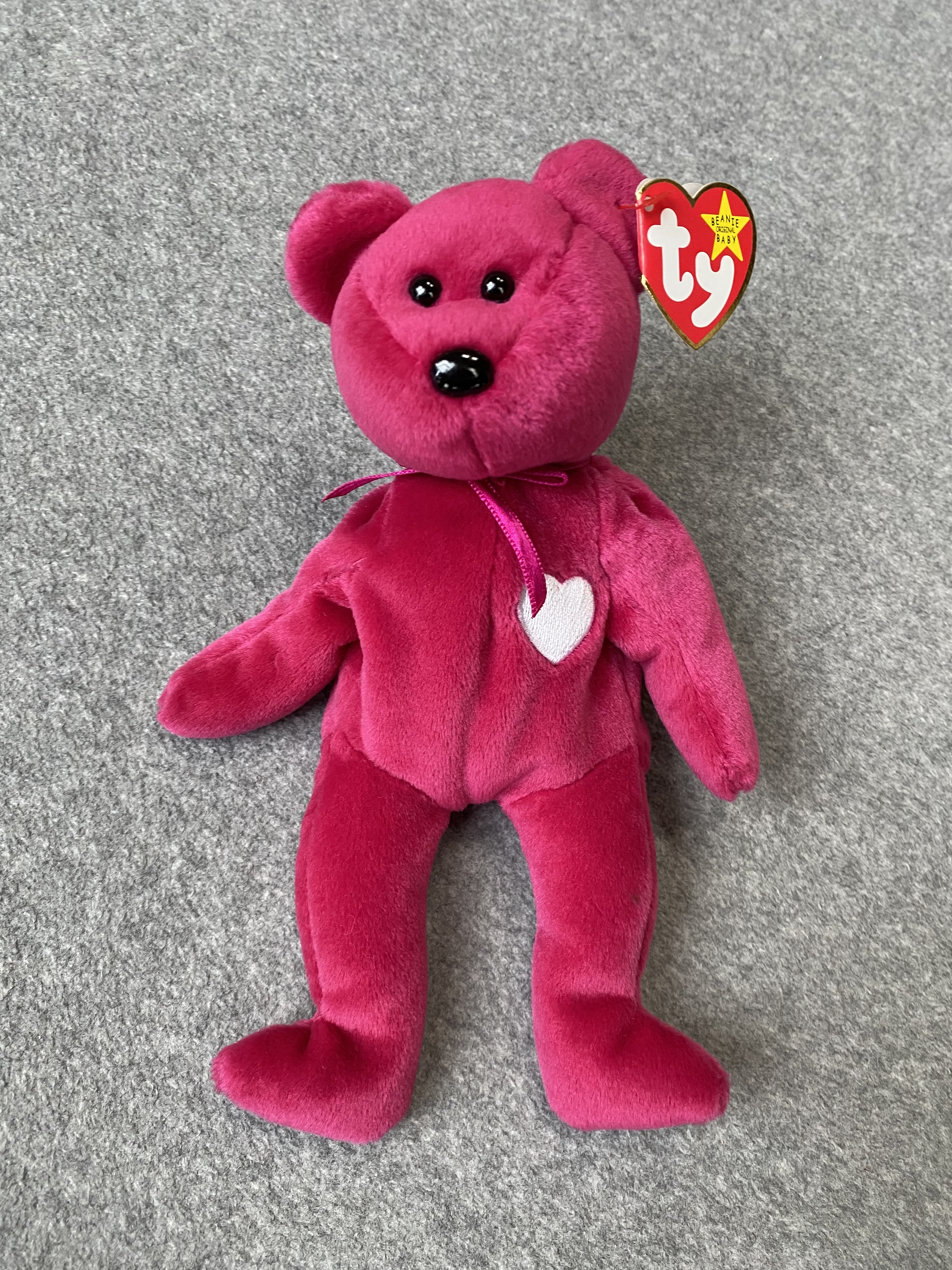 Pink Bear Beanie Baby with White Heart