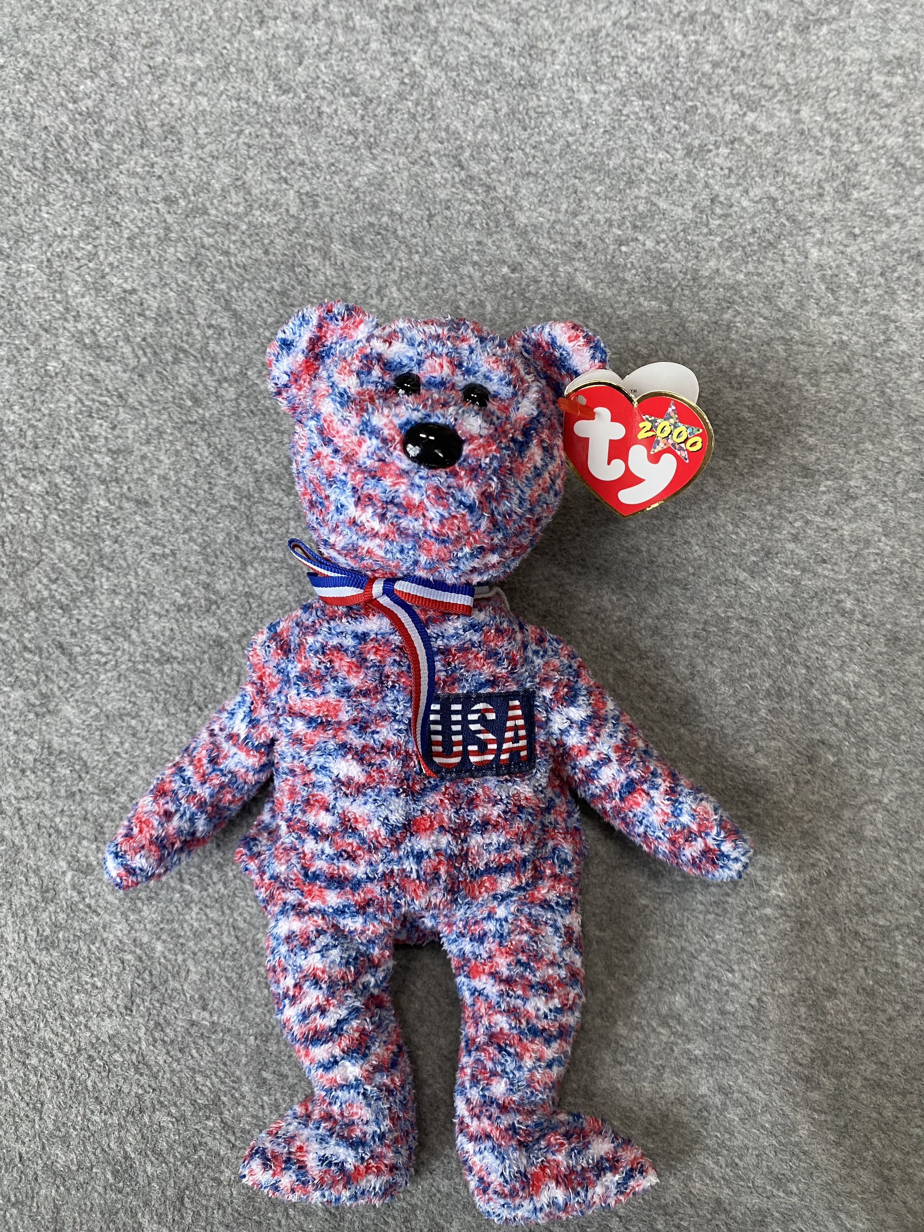 "Multicolored Bear Beanie Baby with ""USA"""
