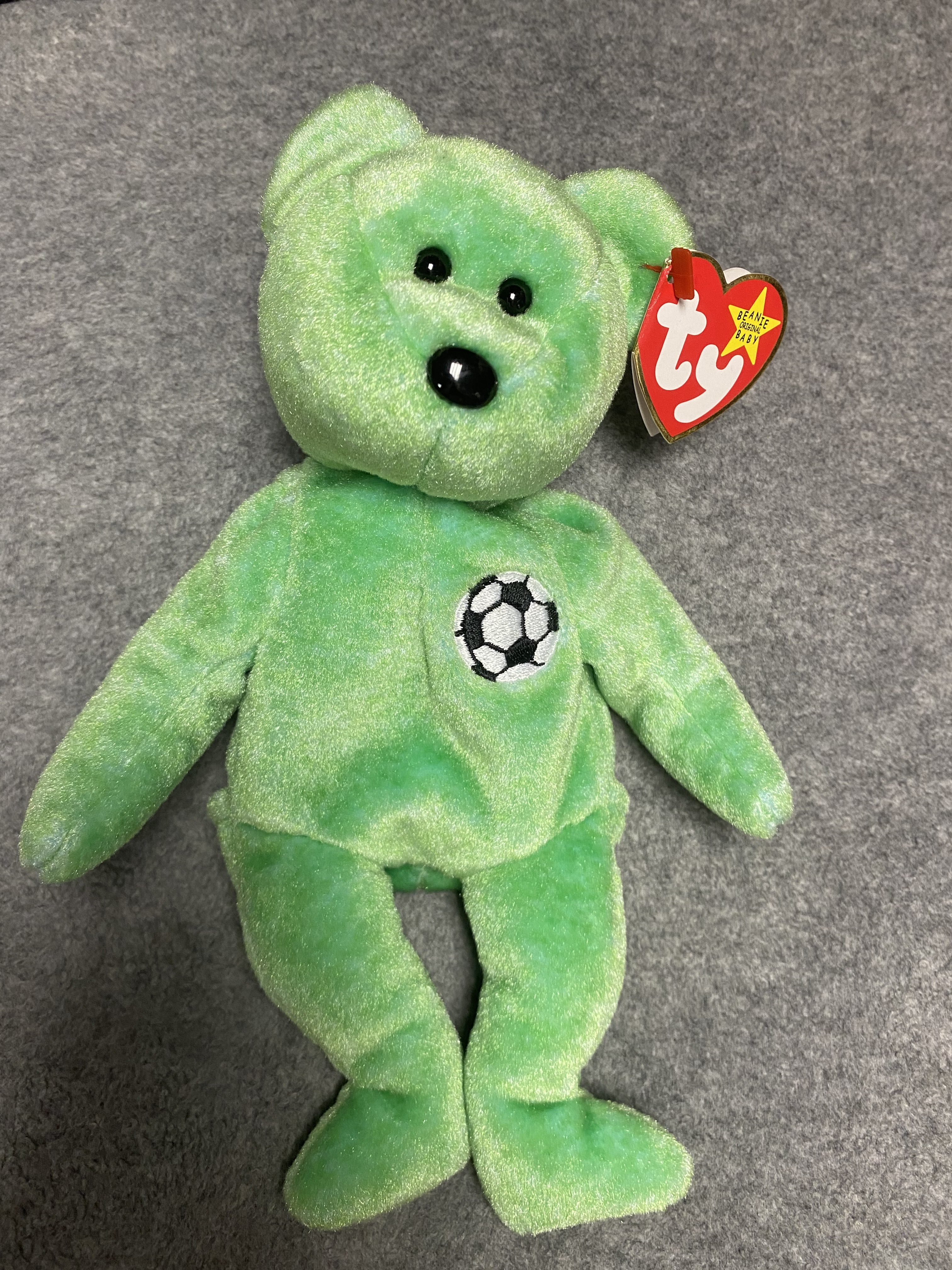 Green Bear Beanie Baby with Soccer Ball