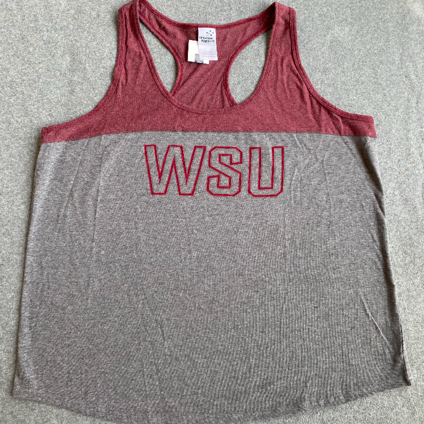 Grey and Crimson WSU Tank Top