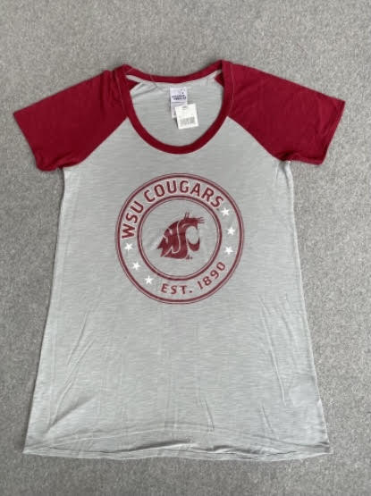 Women's Crimson and Grey Circle Logo T-Shirt