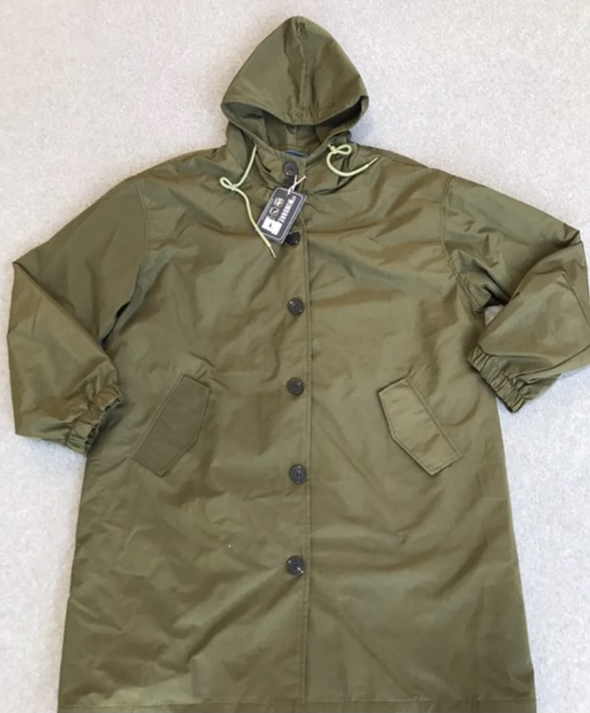 Women's Army Green Water Resistant Oversized Hooded Windbreaker Rain Jacket
