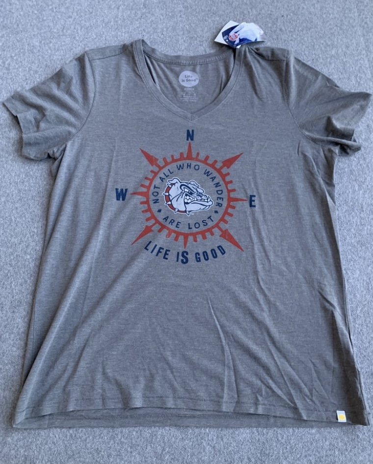 Women's Grey Gonzaga Life is Good Compass T-Shirt Large