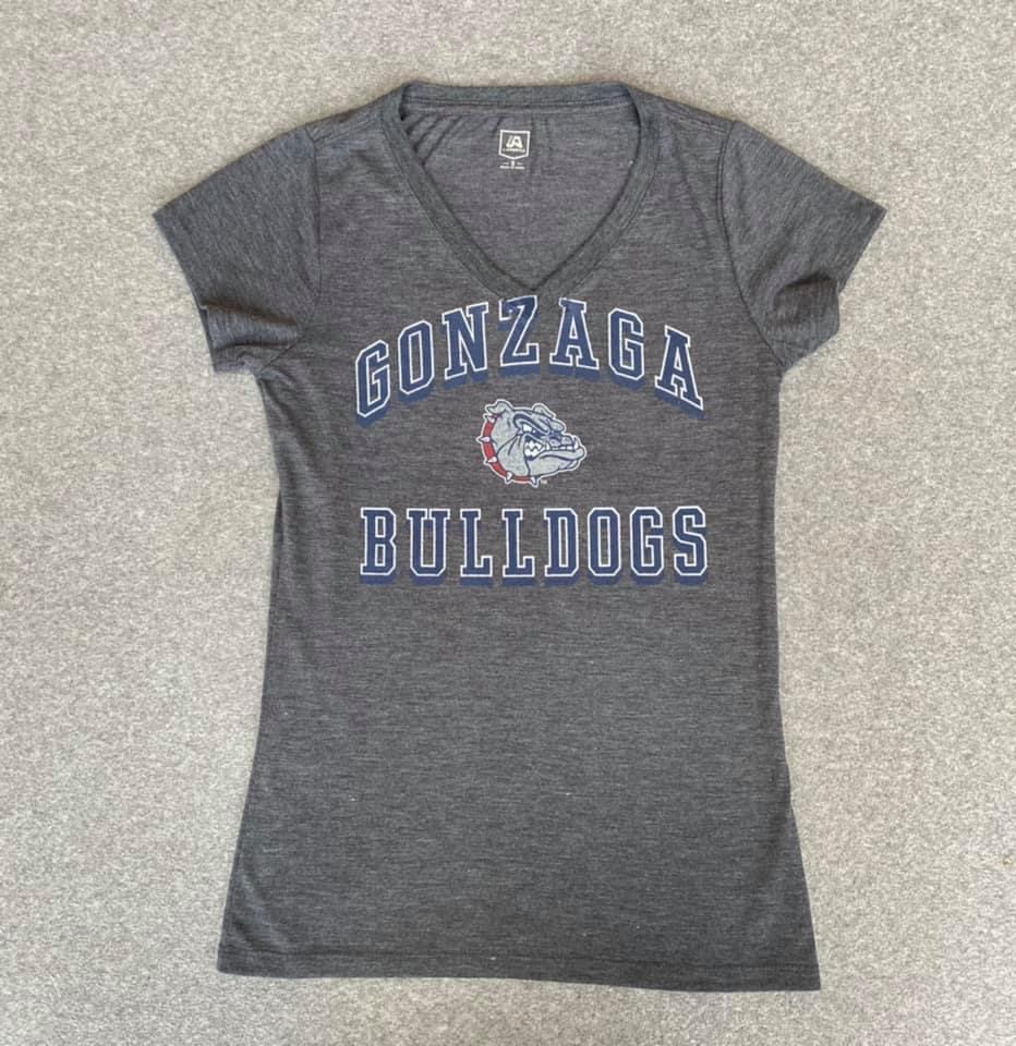 Women's Grey Gonzaga Bulldogs V-Neck size Small