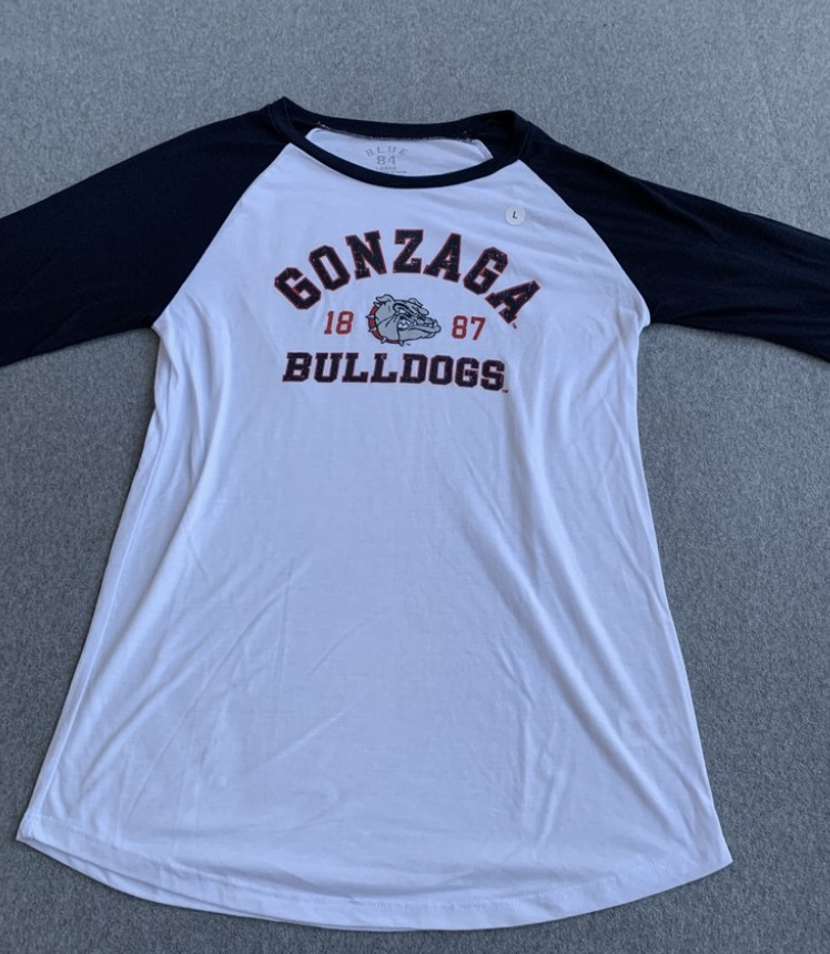 Women's White Gonzaga Bulldogs Logo 3/4 Sleeve T-Shirt size L