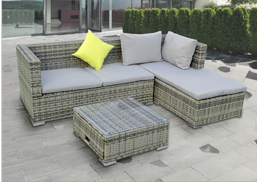 RATTAN WICKER ADJUSTABLE 3-PIECE INDOOR/OUTDOOR SECTIONAL WITH STORAGE TABLE SET - MANHATTAN SET