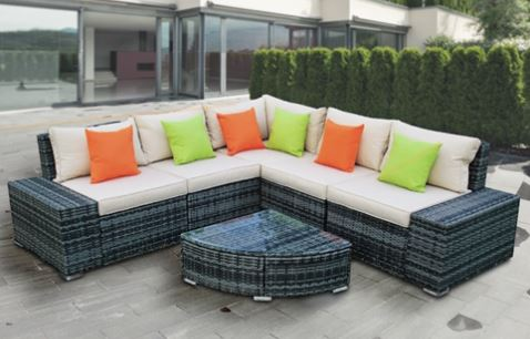 RATTAN WICKER COMPLETE 6-PIECE INDOOR/OUTDOOR SECTIONAL - SUNRISE SET