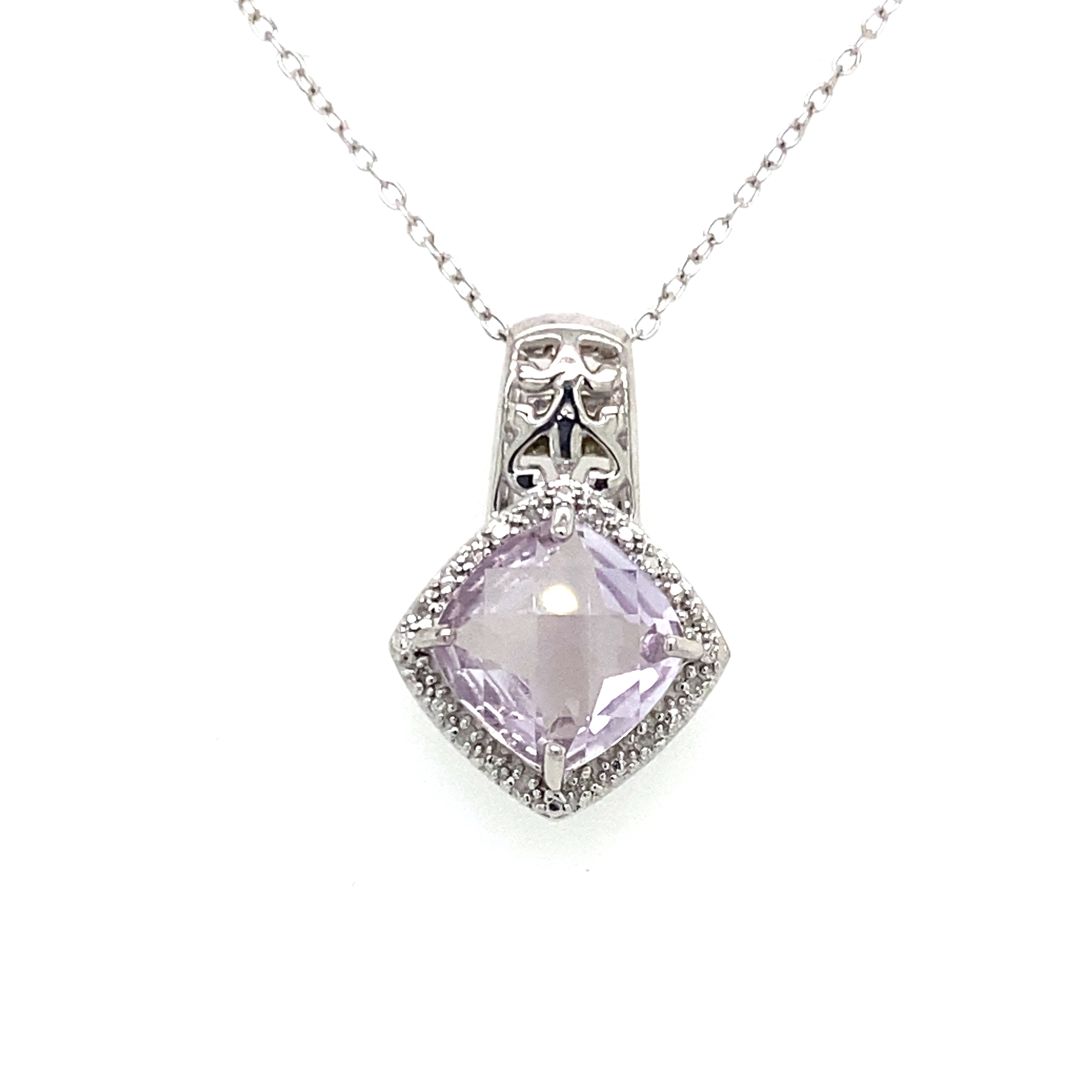 Sterling Silver, Diamond and Pink Quartz Pendant