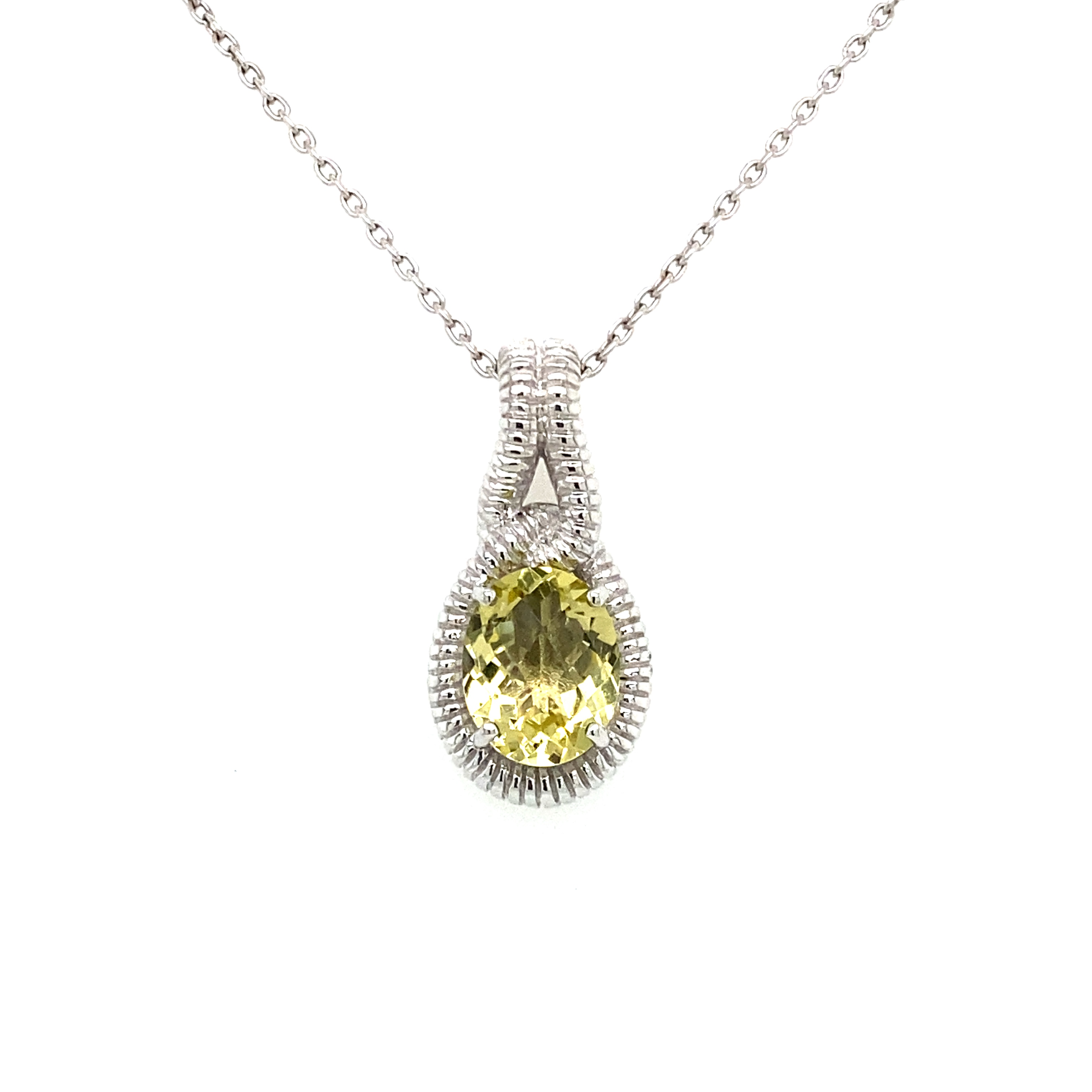 Sterling Silver and Lemon Quartz Pendant