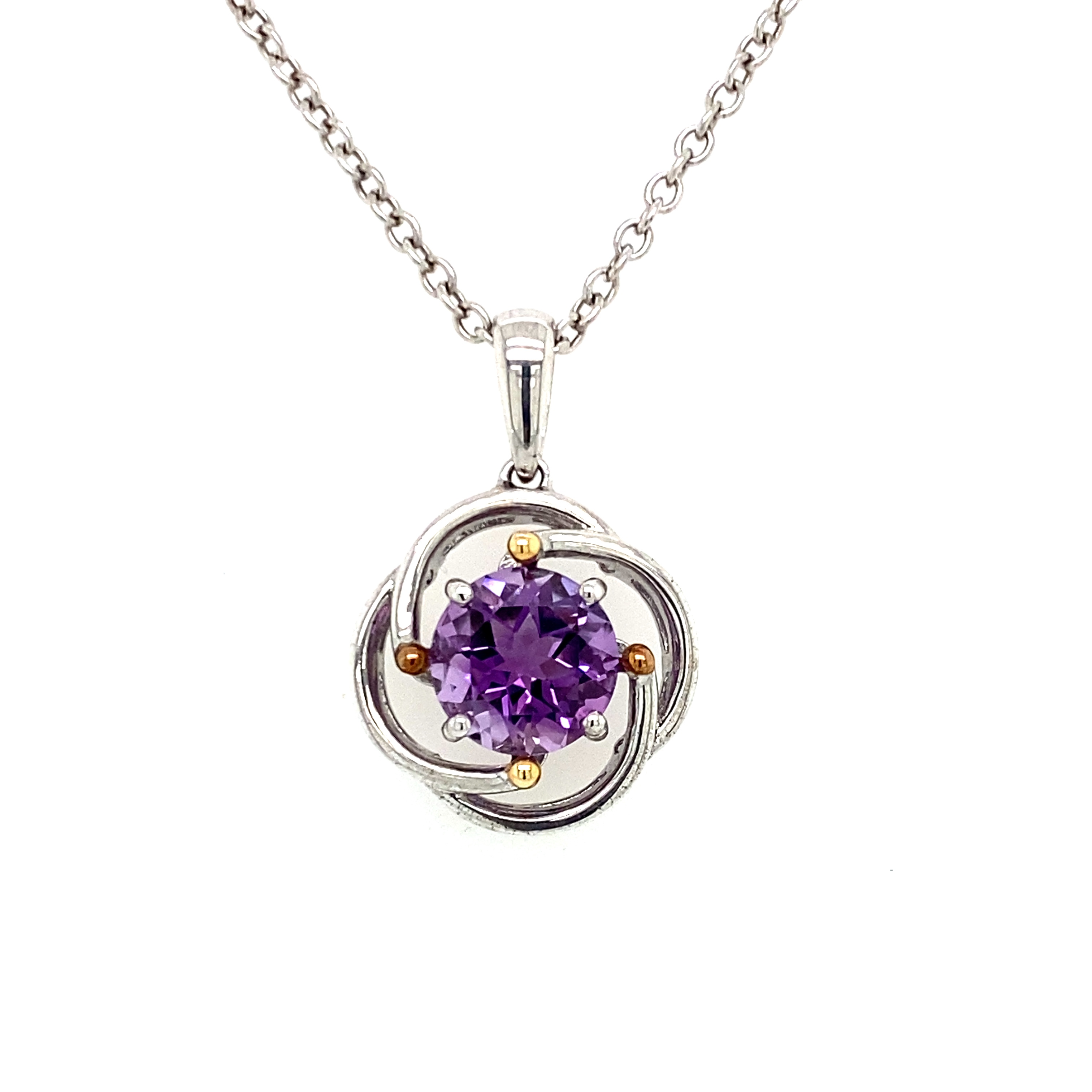 Sterling Silver and Gold Amethyst Necklace