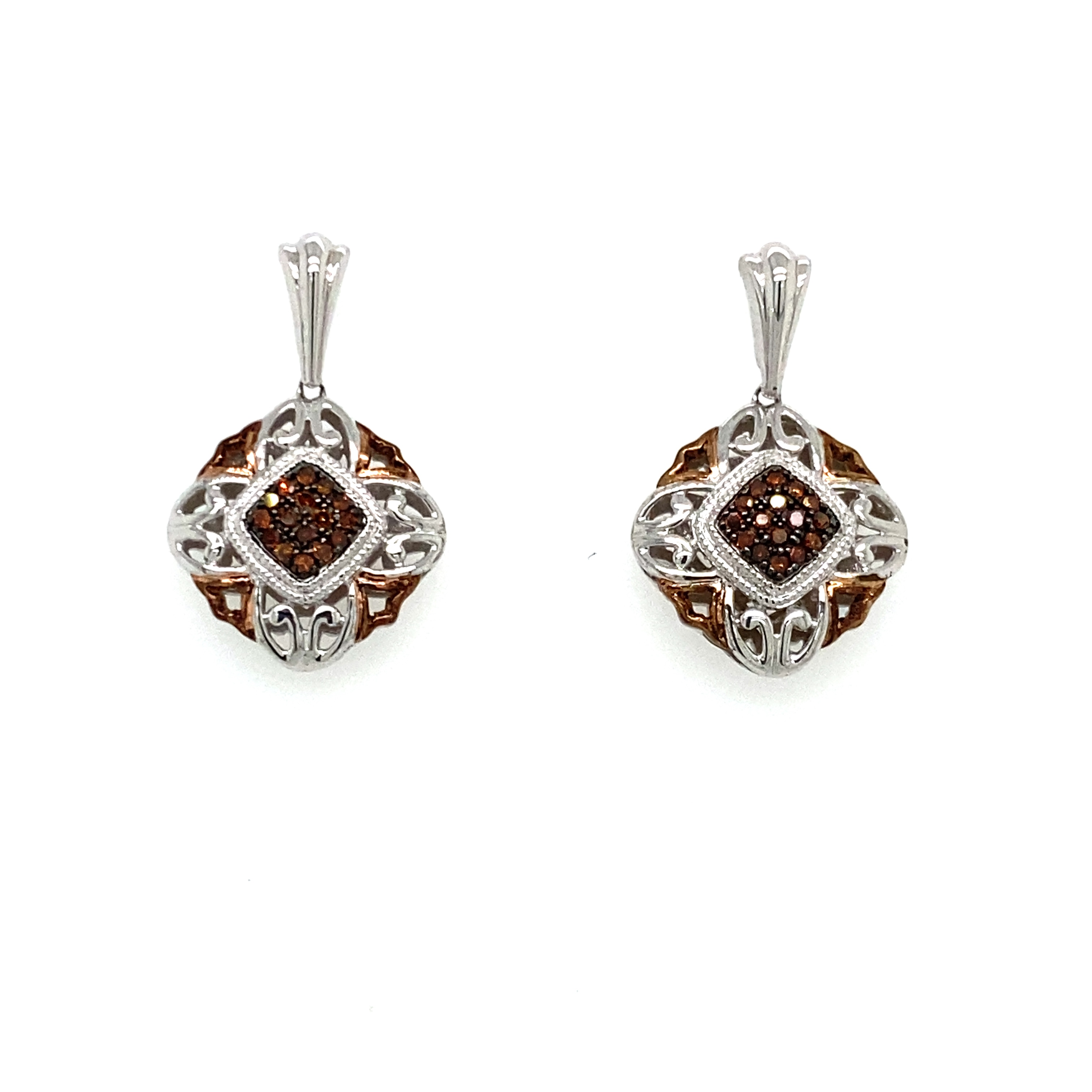 Sterling Silver and Rose Gold Plated Chocolate Diamond Earrings