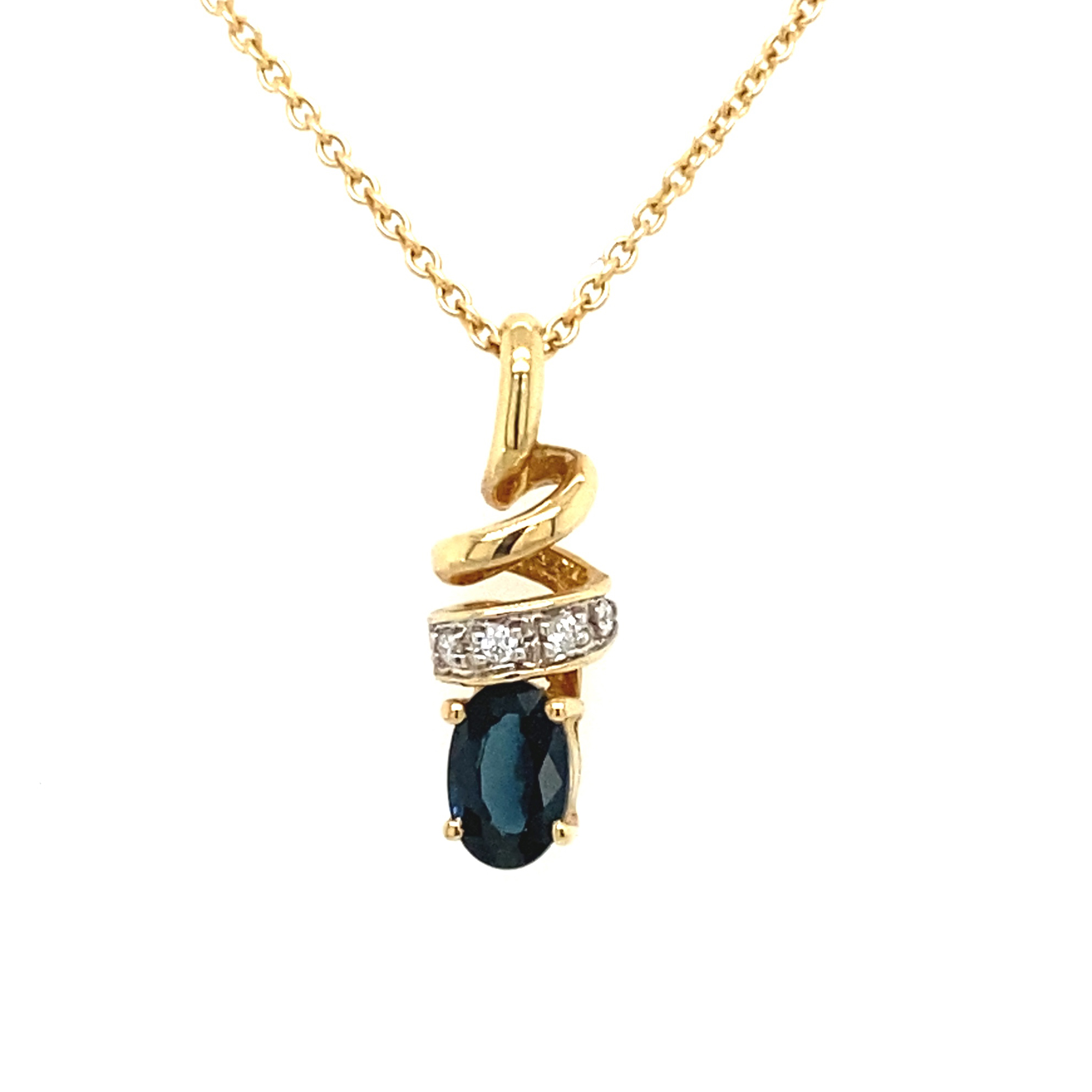 14K Yellow Gold, Blue Sapphire and Diamond Necklace