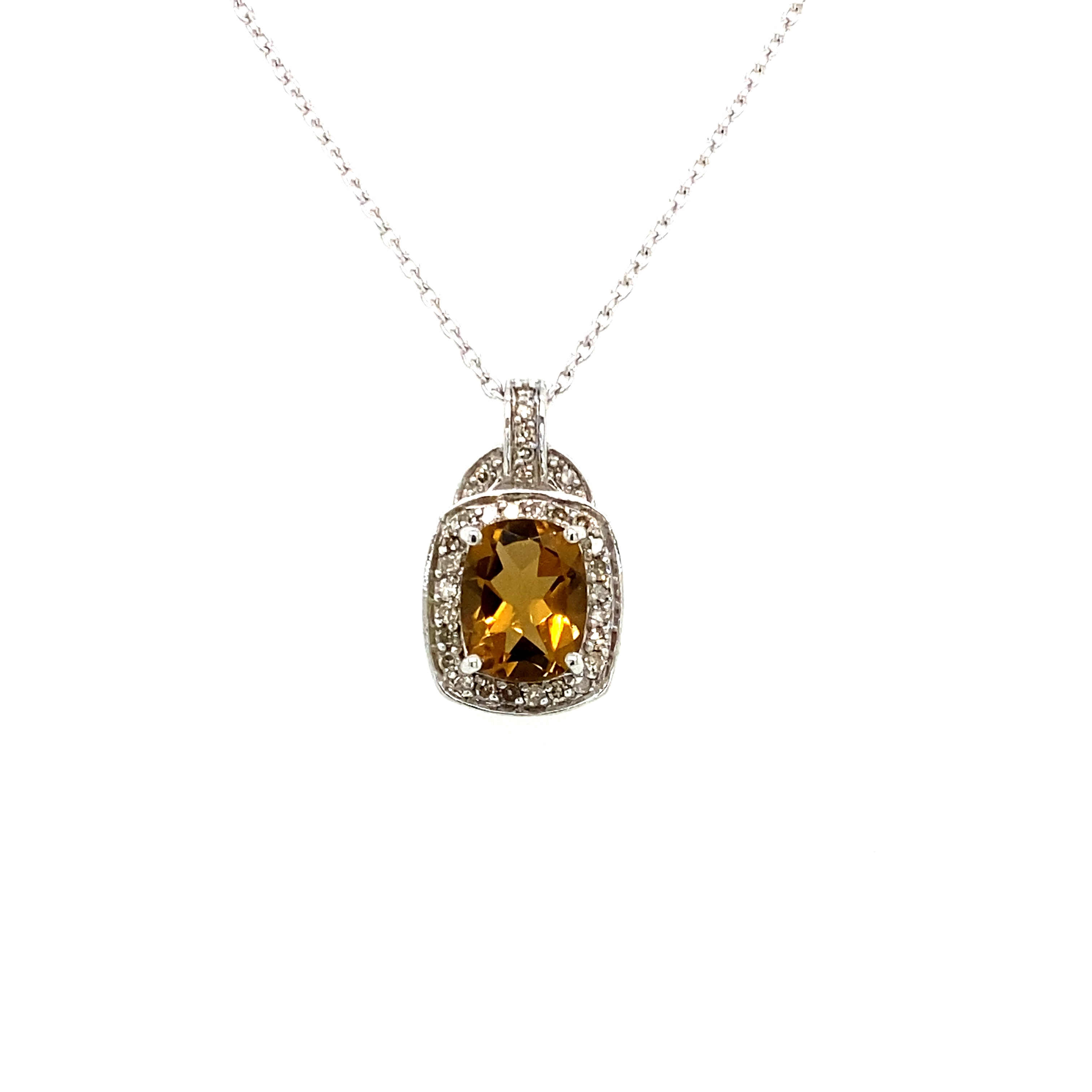 Sterling Silver, Whiskey Quartz and Diamond Pendant