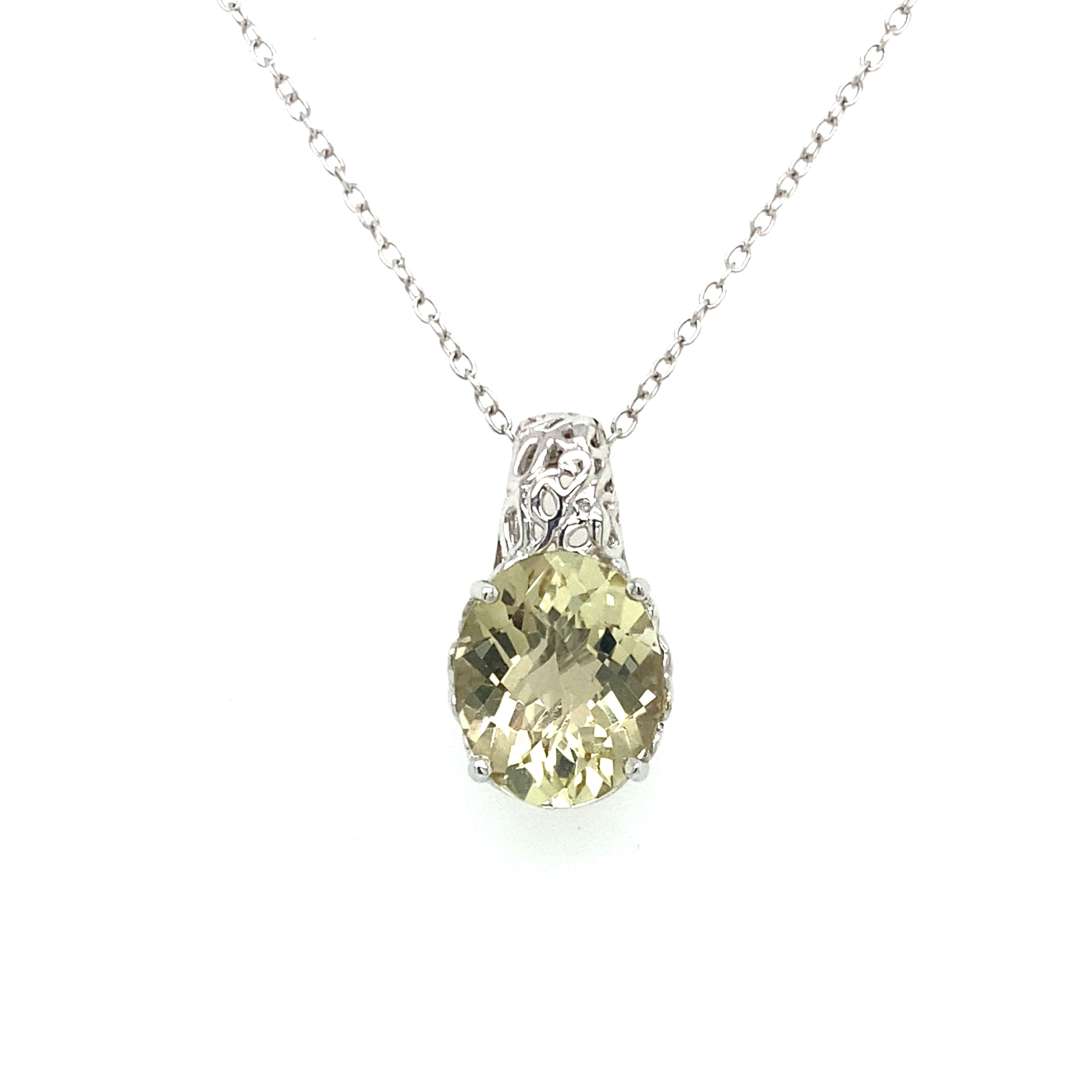 Sterling Silver and Yellow-Green Quartz Pendant