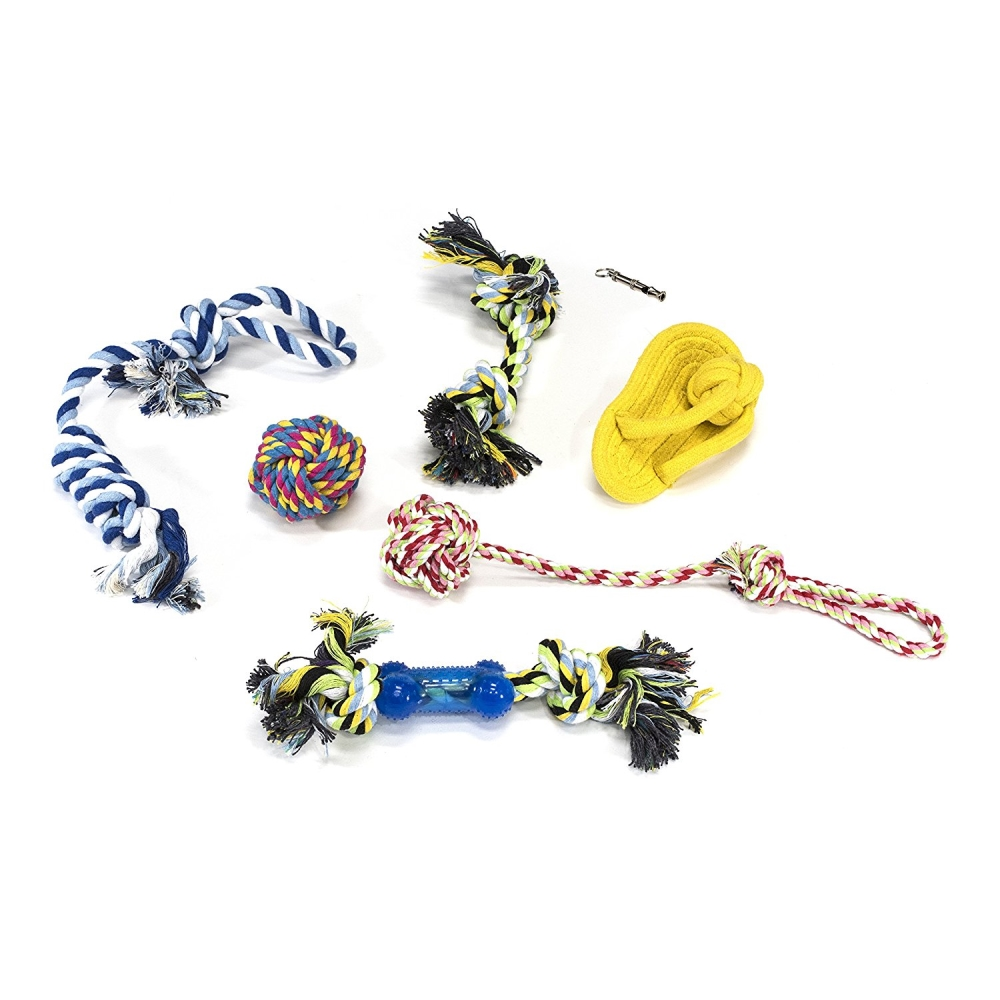 Ultra Durable Dog Rope Play Pack - 7 Pieces - Multicolor