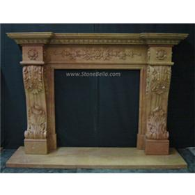 Hand Carved Sienna Bruciada Stone Fireplace Mantle