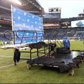 Rolling Risers being utilized at conclusion of MLS Championship Soccer Game.