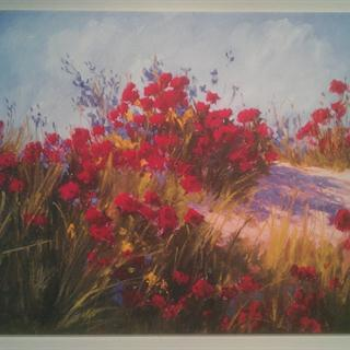 "Brigitte Curt's ""Red Poppies and Wildflowers"" Painting"