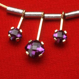 Gold Necklace with Amethyst Gemstones