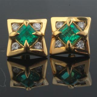Emerald Eaves 18k Gold Diamond Earrings