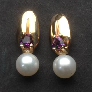 Amethyst Dawn 14kt Gold Earrings with Cultured Pearls
