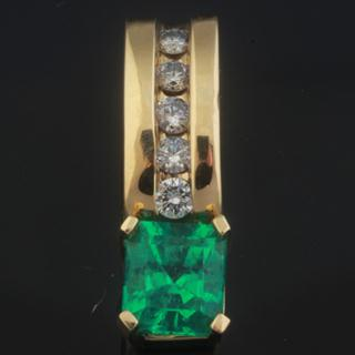 Emerald Spark 18k Gold & Diamonds Pendant