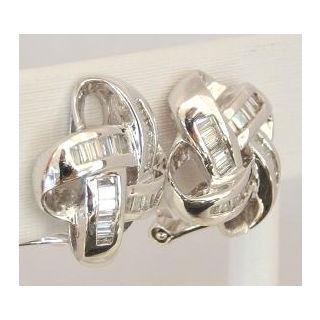 White Gold Diamond Knot Earrings